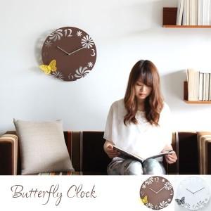 蝶が羽を休める 癒しの掛け時計 「Butterfly Clock」