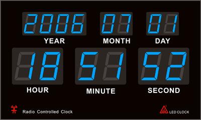 青色LEDのデジタル電波時計。数字が見やすい時計です。