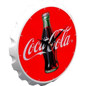 立体感のあるコカ・コーラの王冠型ウォールクロック。