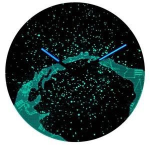 星と天の川が夜光で光る星座時計「MilkyWay」