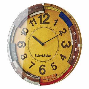 定規が重なるクラフトテイスト電波時計 RULER&RULER(ルーラ&ルーラ)
