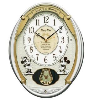 セイコー製電波時計「ディズニータイム」シリーズ。ミッキーとミニーのリズム時計。