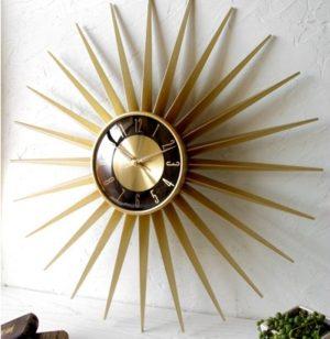 ゴールド&ブラックのミッドセンチュリーな組み合わせ サンバーストクロック「Emits Time」