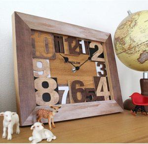 クラフト感溢れる切り抜き数字の掛け時計 Hounslow(ハウンズロー)