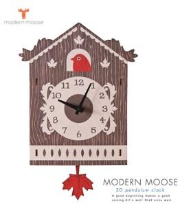 Modern Moose(モダンムース)製 楓が揺れる秋カラーのアートクロック