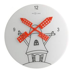 NEXTIME製  赤い風車の掛け時計 「Windmill 8807」