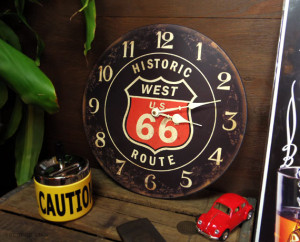 アメリカンレトロデザインの掛け時計 ROUTE66